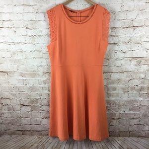 Talbots Womens Orange Eyelet Cap Sleeve Dress XL